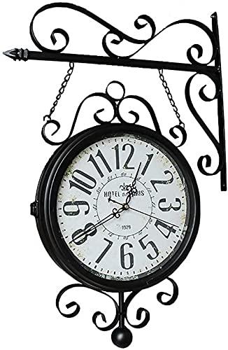 QHCS Reloj de Pared Reloj de estación de Tren, Relojes de Doble Cara para Exteriores, con Carcasa Resistente a la Intemperie,...
