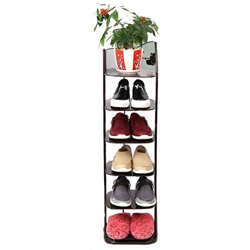 Porte-chaussures en fer forgé salle de séjour dortoir de chaussures rack maison multi-couche en fer forgé rack à chaussures simple rack de rangement simple armoire à chaussures,Brown