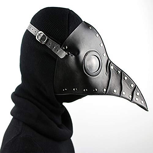 ZISHINE Plague Doctor Mask Halloween Stage Costume Cosplay Puntelli Steampunk Gothic Retro Mask,Nero
