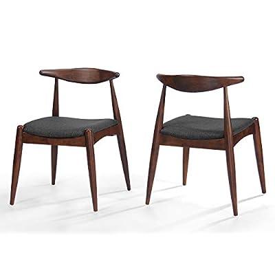 Sandra Fabric Mid Century Modern Charcoal + Walnut Dining Chairs (Set of 2)