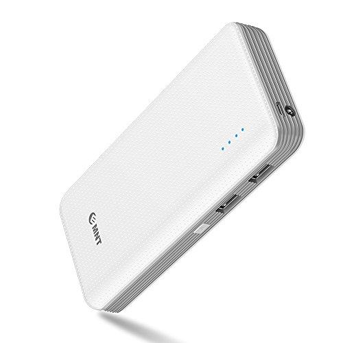 EMNT Tragbares Ladegerät, 15000 mAh Dual-USB-Anschluss Powerbank Schnellladetechnologie mit hoher Kapazität Externer Backup-Akku Geeignet für iPhone, iPad, Samsung und die meisten USB-Geräte - Grau