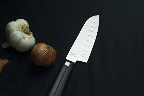 Shun Sora 5.5-Inch Hollow-Ground Santoku with Hand-Sharpened, Double-Bevel Blade and Lightweight, Durable Handle; Asian-Inspired, Multipurpose Knife with Hollow-Ground Indentations for Efficiency