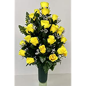yellow roses with baby's breath cemetery vase filler/cone with green cone spike silk flower arrangements