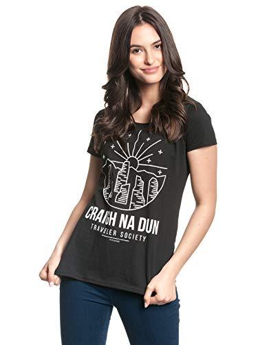 Outlander Craigh NA Dun Frauen T-Shirt schwarz S 100% Baumwolle Fan-Merch, TV-Serien