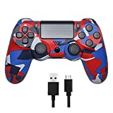 Wireless Controller Compatible with PS4, Bluetooth Remote with 6-Axis Gyro Sensor and Audio Function Gamepad Compatible with Playstation 4/ PS4 Slim, PS4 Pro
