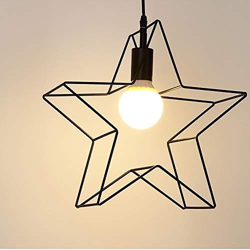 Vintage Industrielle Lampe Suspension Métal 3D Etoile Shape Lustre Douille E27 Eclairage Décoration pour Salon Chambre Restaurent Salle à Manger (Noir) [Classe énergétique A+]