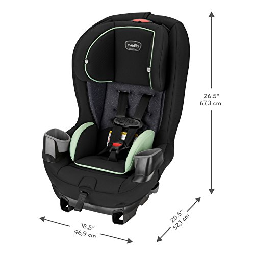 Evenflo Stratos 65 Convertible Car Seat, 2 Car Seats in 1, Forward/Rear Facing Car Seat, Air Flow Vents, Removable Body Pillow, Rollover Tested, Quick-Connect Latch Hooks, Pikes Peak Black