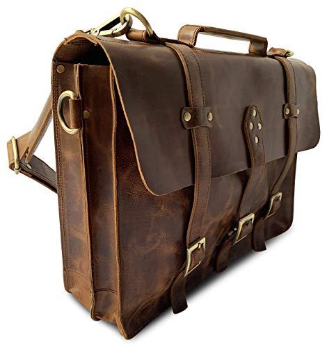 CAMSTWO1 Lederen Laptop Messenger Bag - Vintage Tan Handgemaakte Aktetas voor Mannen en Vrouwen, Echt Lederen Cross Body met Schouderpad op riem, Comfortabel voor Weekend Travel Office Vergaderingen, Bruin