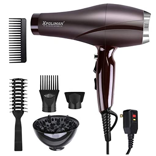 - 41aJyJIr5dL - Xpoliman Professional Salon Hair Dryer with AC Motor, 2000 Watt, Negative Ionic Blow Dryer with Diffuser Concentrator Comb, 2 Speed 3 Heat Settings,Low Noise Long Life style-Purple
