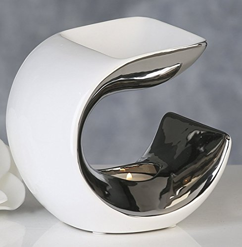 Casablanca 36926 Aromabrenner - Duftlampe Curve - Keramik weiß/Silber 14 x 13,5 x 10,5 cm