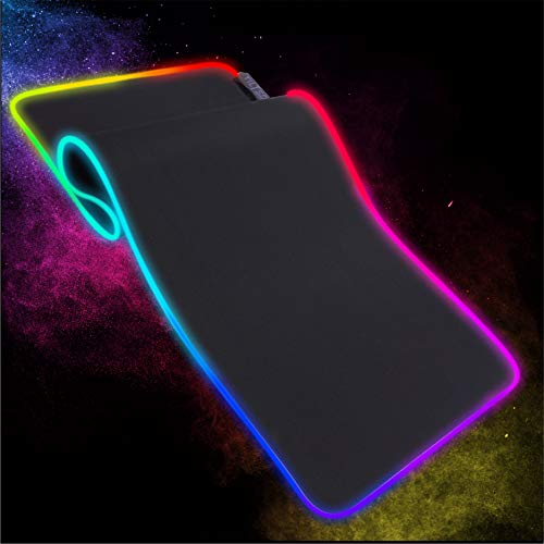Tilted Nation Extended Gaming Mouse Pad Large - Enhance Gameplay and Looks - RGB Mouse Pad for Gaming with 8 Light Modes - Smooth Glide, Easy to Clean, and Bright - Light Up Mouse Pad RGB - Black