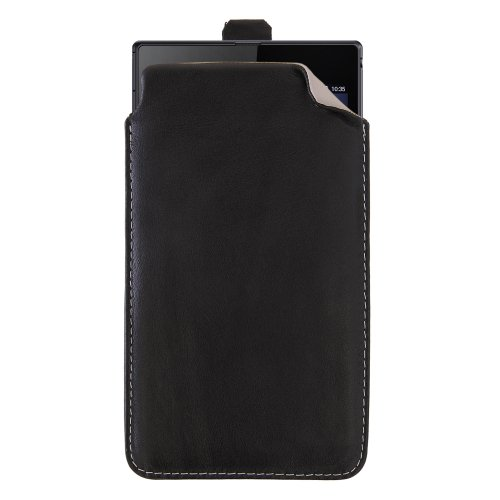XXXL Universell bis 6 Zoll Smartphones, Echtleder Ledertasche Sehr Grosse Tasche Smartphone/Handy passend für Nokia 1320/1520, Hülle, Echtleder, Echtes Leder, Lederhülle (Schwarz - Innen Creme)