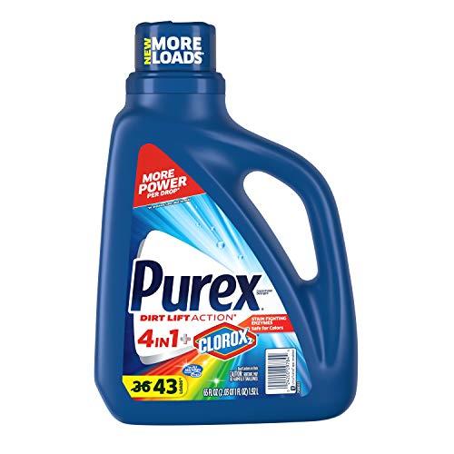 Purex Liquid Laundry Detergent Plus Clorox 2, Original, Fresh, 65 Fl Oz