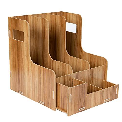 woodluv Skrivbordsskiva i trä prydlig kontorsmaterial organiserare kontorsmaterial ställ hem skrivbord organiseringshållare, 31,5 x 25 x 27 (H) cm