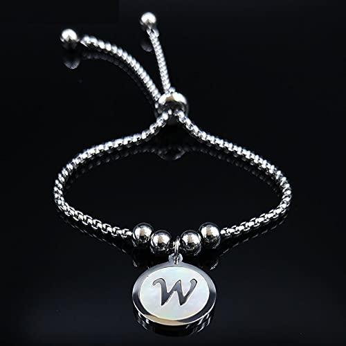 HUIZHANG Moda Carta Damas Pulsera de Acero Inoxidable Señoras Plata Pulsera Charm Jewelry