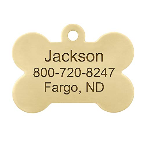 DogIDs Personalized Bone Shaped Dog Identification Tag, Custom Laser Engraved Single Sided ID Tag with S-Hook and Split Ring - Brass, Large, 1 1/2 in x 1 in
