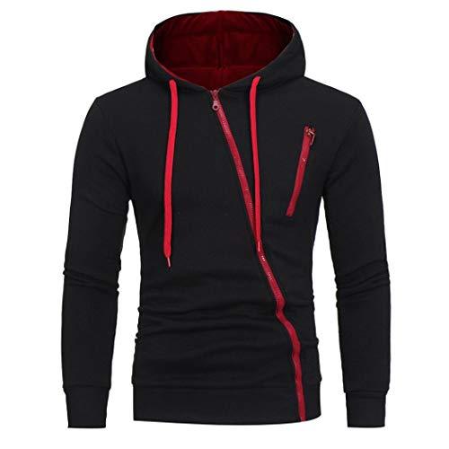 IMJONO Herren Sweatshirt Männer Langarm Hoodie Kapuzen Tops Jacke Mantel Outwear(EU-50/CN-2XL,Schwarz)