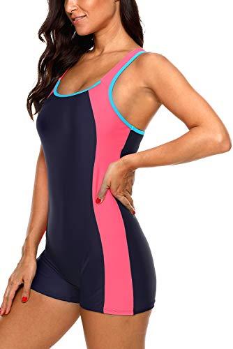 Vegatos Women Boyleg Training 1 Piece Swimsuit Athletic Bathing Suit Navy/Red XS