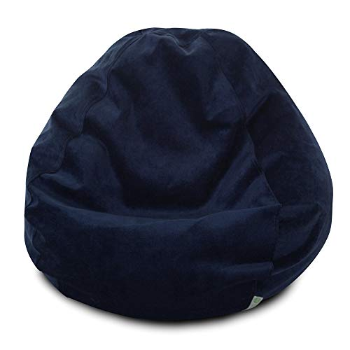 Majestic Home Goods Classic Bean Bag Chair - Villa Giant Classic Bean Bags for Small Adults and Kids (28 x 28 x 22 Inches) (Navy Blue)
