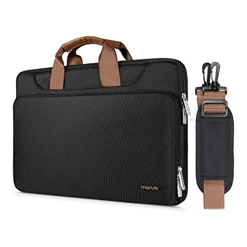 MOSISO 360 Protective Laptop Shoulder Bag Compatible with MacBook Pro 16 inch, 15 15.4 15.6 inch Dell Lenovo HP Asus Acer Samsung Sony Chromebook, Briefcase Sleeve with Back Trolley Belt, Black