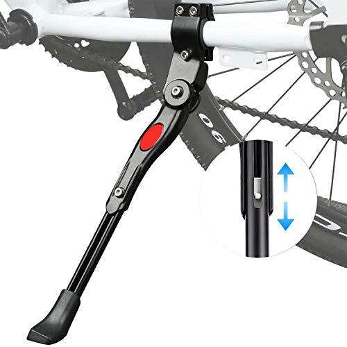 ZSWQ Pata de Cabra para Bicicleta Aluminio Soporte Ajustable del Retroceso de Bici Caballete Bicicleta para Bicicleta de Niños Bicicleta de Plegable 22-27 Pulgadas (Negro)