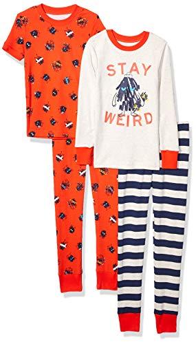 Spotted Zebra Boys' Infant Snug-Fit Cotton Pajamas Sleepwear Sets, 4-Piece Weird Monsters, 12 Months