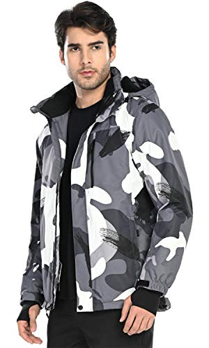 FREE SOLDIER Men's Waterproof Ski Snow Jacket Fleece Lined Warm Winter Rain Jacket with Hood(Camouflage,XL)