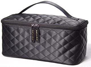 black quilted makeup bag