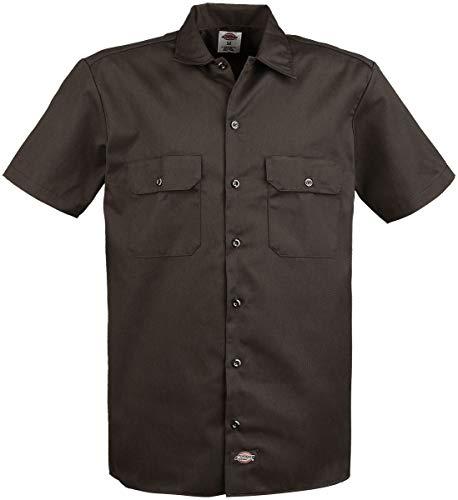 Dickies Herren Regular Fit Freizeit Hemd Shrt/S Work Shirt, Kurzarm, Braun (Dark Brown DB), Gr. XXX-Large (Herstellergröße: 3XL)