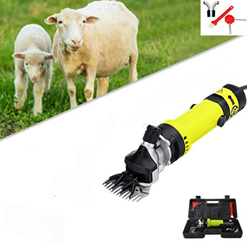 Esquiladora Máquinas de Eléctrica Esquilar para ovejas Cortadora de pelo eléctrica / 850W de velocidad ajustable Perro de oveja Cortadora de mascotas Cizallamiento de animales con caja Amarillo