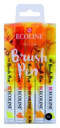 Ecoline Liquid Watercolor Brush Pen, Set of 5 - Yellow (11509902)