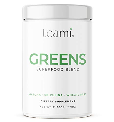 Teami Greens Superfood Powder, Immune Support Supplement, Super Greens Powder with Super Green Mixed Veggie Ingredients, Green Juice with Spirulina, Spinach, Kale, and Acai for Delicious Smoothie Mix