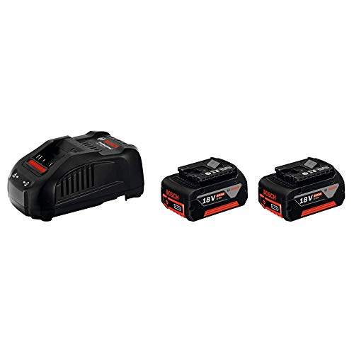 Bosch Professional 1600A00B8J Power Set 5,0 Cargador rápido Litio, 2 baterías x 5.0 Ah, 18 V, Negro