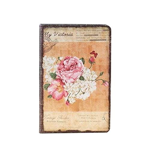 JJH Cuaderno Floral Europeo Retro Flor Cubierta de la Cubierta Diario Diario Personal Libro Vintage portátiles Suministros Escolares de Oficina (3 diseños) (Color : A)