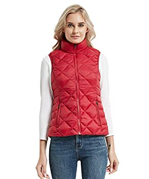 CROYEE Women s Winter Lightweight Quilted Puffer Vest Large,Red