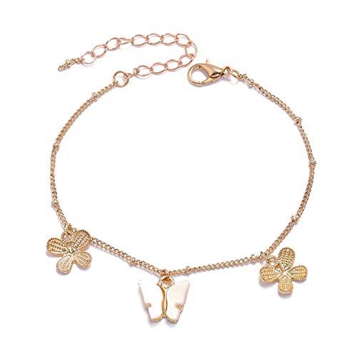 Hjku Encantadora mariposa tobillera mujer playa Boho pie cadena colgante pierna joyería
