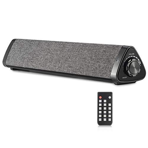 Koolertron Lautsprecher Soundbar, TV Sound Bar PC Lautsprecher Wireless Bluetooth Soundbar tragbare Stereo, USB Soundbar 2 x 5 W Compact mit Fernbedienung Subwoofer für TV/Handy/Tablet/PC