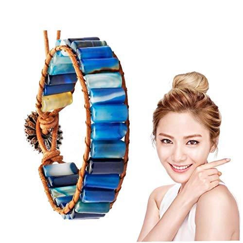 1PC Leather Chakra Bracelet Handmade Imperial Jasper Wrap Adjustable Bead Bracelet Leather Wrap Bead Stone Bracelet for Women Girls(Blue) for Life