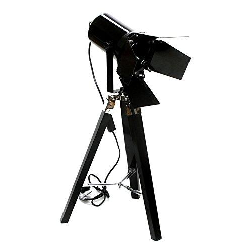 Brillibrum Moderne Stehlampe Spot mit Klappen – Schöne Moderne Stativlampe aus Metall Scheinwerfer in Schwarz/Silber Filmfans Geschenkidee Dreibein-Bodenlampe Strahler