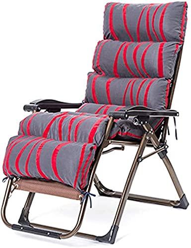 TANKKWEQ Tumbonas de Sol reclinable reclinable reclinación Silla de jardín Sillón Ajustable Plegable con algodón Acolchado para Patio balcón