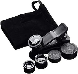 CamKpell 3 en 1 Ojo de pez + Gran Angular + Clip de Macro en el Conjunto de Lentes de cámara para teléfono móvil Tableta teléfono Accesorios de cámara - Negro Negro