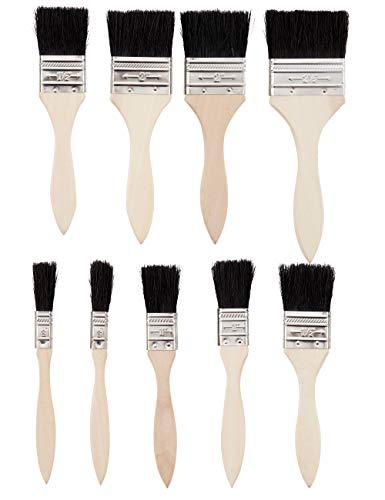 vendify® 9 Stück Hochwertige Flachpinsel Lackierpinsel Malerpinsel zum Streichen für alle Untergründe Wasserfarben Ölfarben Acrylfarben in 5 Größen