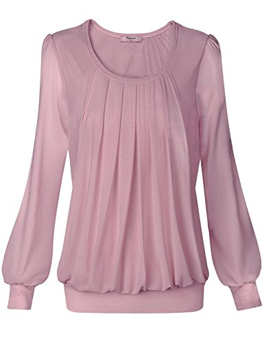Timeson Womens Black Dressy top Front Pleated Long Sleeve Lightweight Knitting Tunic Top #05 Dark Pink,Large