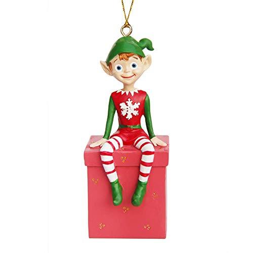 IFUNEYS Christmas Scout Elf Holiday Elf Santa Helper - Christmas Figurine Hanging Ornaments Elf on giftbox