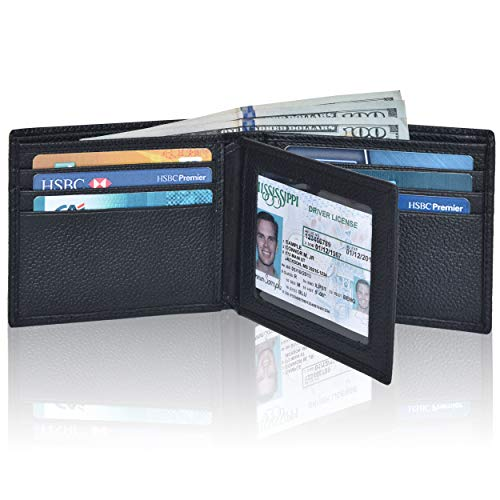 Front Pocket Wallet for Men - RFID Blocking Leather Bifold Wallet with ID Window (Coal)