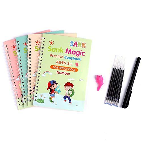 Sank Magic Practice Copybook for Kids - The Print Handwiriting Workbook-Reusable Writing Practice Book (Four Books with Pen)