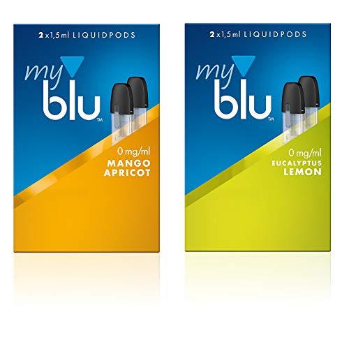 2 x Doppelset Liquids fruchtige Aromen - Ohne Nikotin - für E-Zigarette Myblu Mit Gratis Hygieneschlüssel (Mango-Apricot + Eukalyptus-Lemon)