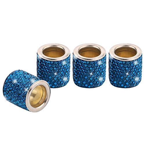 4 Piezas Reposacabezas Coche Collares Anillos Crystal Bling, Accesorios Para Coche Interior Mujer Hombres Brillantina, Decoración De Cristal De Diamante, Regalos Personalizados (Pavo Real Azul)