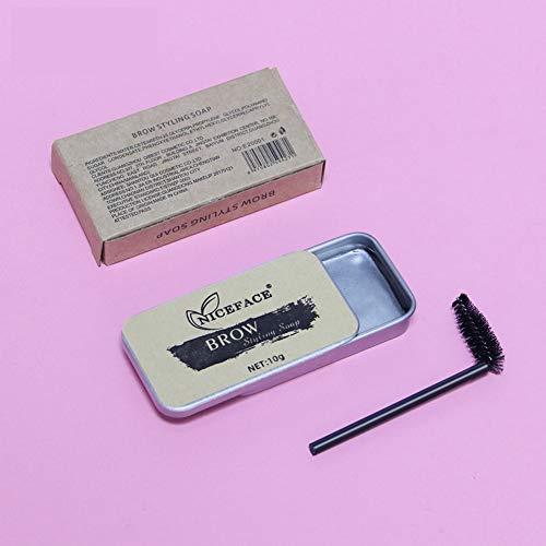 Kit de sourcils, cire de gel de style de sourcils sauvages, crème de façonnage de sourcils 3D plumeux durable et imperméable avec kit de maquillage de pinceau