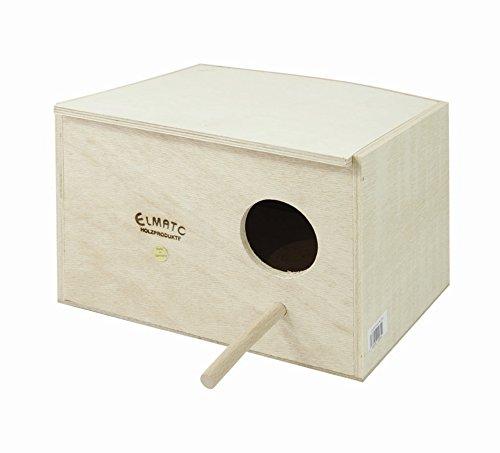 Elmato 10064 - Caja para periquitos con Hueco para Nido y Palo para posarse